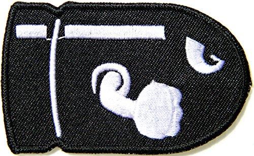 Bullet Bill Patch Embroidered Iron on Badge Applique Costume Cosplay Mario Kart / Snes / Mario World / Super Mario Brothers / Mario Allstars