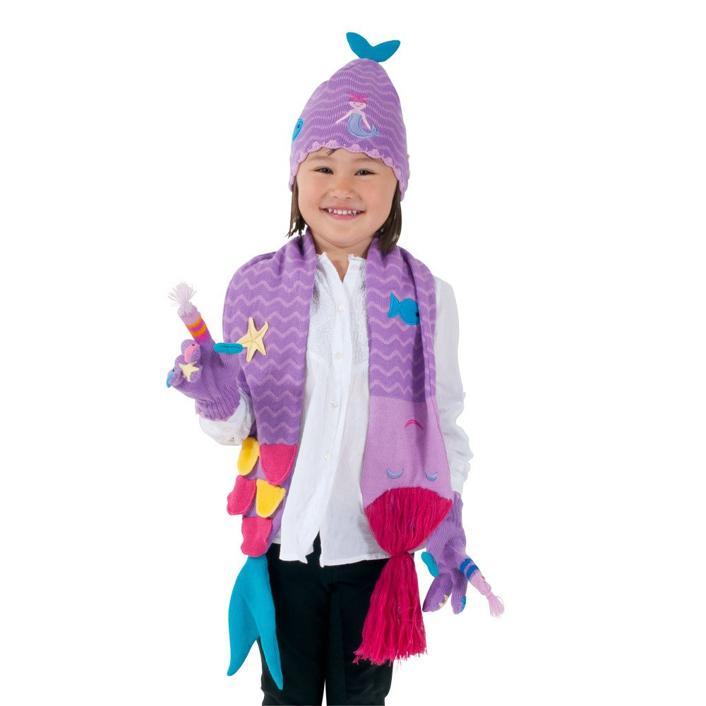 Kidorable Purple Mermaid Soft Knit Hat/Scarf/Glove Set for Girls With Fun Stars and Fish, Ages 9+