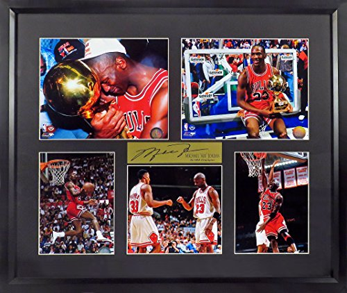 "Michael Jordan Photo - Chicago Bulls Michael Jordan ""6x NBA Champion"" Photo Collage Display (SGA Signature Engraved Plate Series) Framed"
