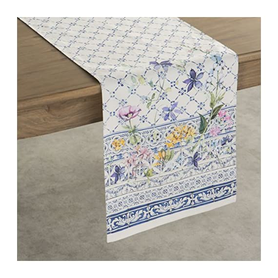 Maison d' Hermine Faïence 100% Cotton Table Runner for Party | Dinner | Holidays | Kitchen | Spring/Summer (14.5 Inch by 72 Inch) - Designed in France. 100% Cotton and machine washable. Suitable for all occasions Package Includes : 1 Table Runner - table-runners, kitchen-dining-room-table-linens, kitchen-dining-room - 61OOXqktP7L. SS570  -
