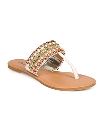 8b21a87c08696 Women Leatherette T-Strap Jeweled Embellished Pyramid Studded Thong Sandal  DH40 - White (Size