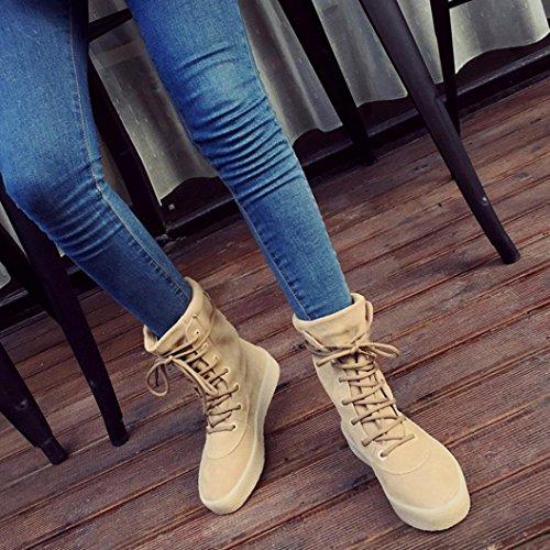 Botas Mujer,Ouneed ® Moda hecha a mano de invierno crepé inferior botas de las mujeres botas de temporada casual Caqui