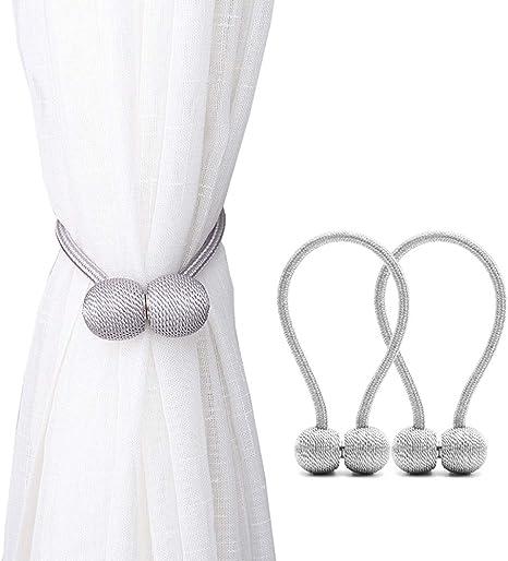 2 Pack Magnetic Wood Bead Window Curtain Holdbacks Voile Drape Tie Backs I