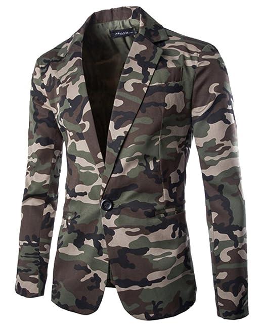 new arrival 18421 ddcd3 Moollyfox Giacca da Uomo Slim Fit Blazer di Mimetica Stampa Elegante  Tailleur Vestito