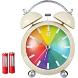 """FOOFOO 4.5"""" Twin Bell Retro Style Quartz Alarm Clock, Battery Operated (with Included)"""