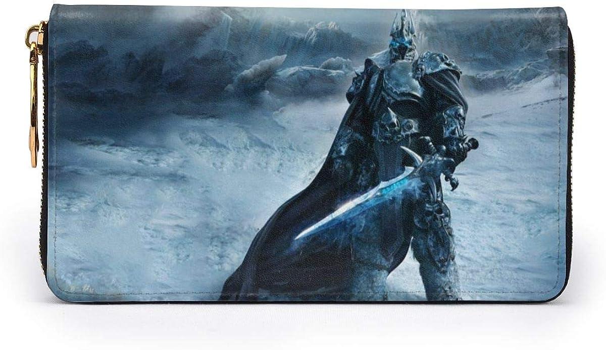 World Of Warcraft Lich King RFID Wallet Blocking Genuine Leather Wallet Zip Around Card Holder Organizer Clutch Wallet Large Capacity Purse Phone Bag For Men Women