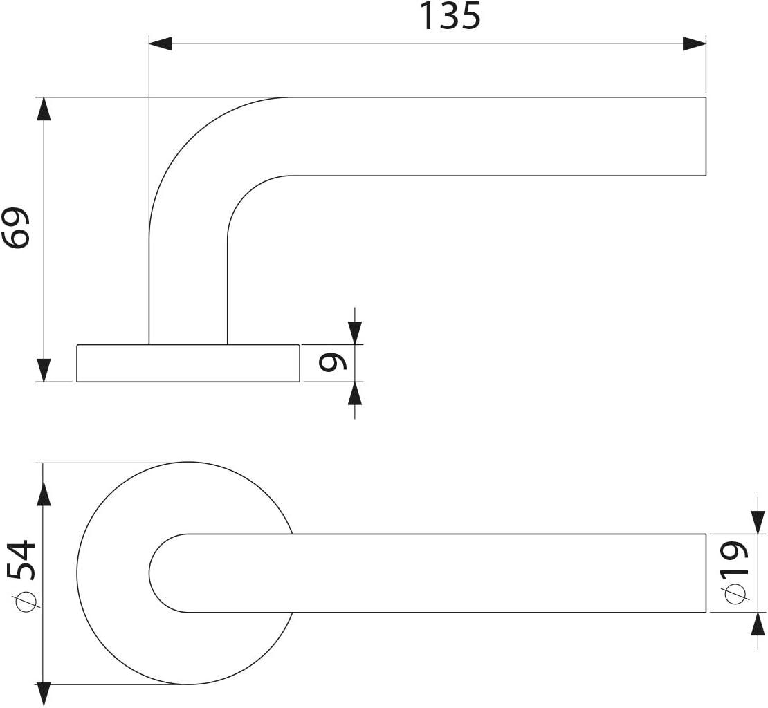 juego de manillas para puerta de paso con roseta D.53 mm Acero inoxidable modelo en L N/íquel satinado. Manetas para puertas de interior Emuca