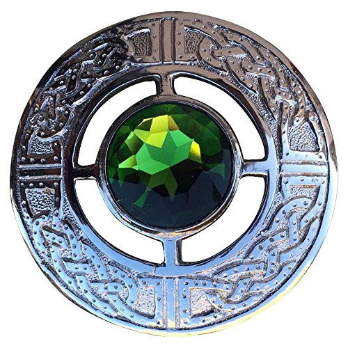 AAR Men's Scottish Celtic Kilt Fly Plaid Brooch in Various Color Stones (Green) (Celtic Kilt Pin)