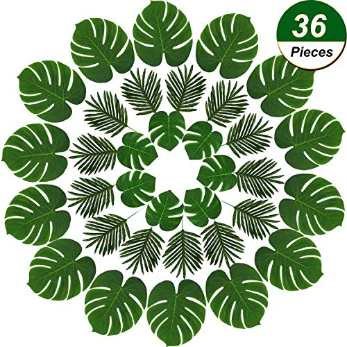 TONIFUL 3 Kinds Artificial Monstera Leaves,Tropical Party Decorations,Palm Leaves for Safari Party Decorations,Hawaiian Luau Jungle Party Decorations (36PCS[12Palm Leaf + 24Monstera Leaf(L+S)])