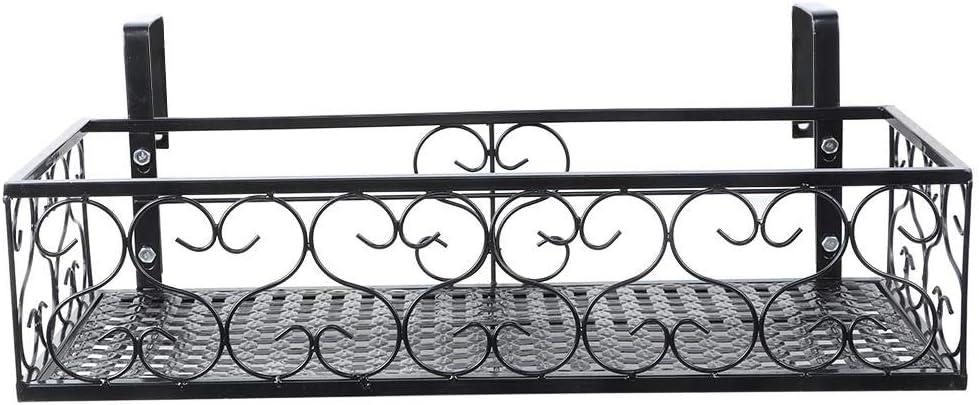 Estante de flores, duradero Balcón de hierro colgante Estante de flores Soporte de maceta Almacenamiento de plantas Estante de barandilla Decoración para oficina, hogar, hotel, bar, balcón Jardín