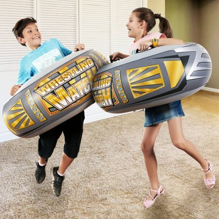 Family Fun Jumbo Adjustable Inflatable Champion Sumo Wrestling Match Bopper Bumper Game, Grey (Set of Two Intertubes) by MD Sports