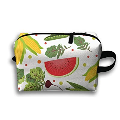 Leisue Corns Vegetables Watermelons Fruits Cosmetic Bag Zipper Makeup Accessories Pouch Toiletries Bags Pen Pencil Power Lines Travel Cases Of Resistance Carry Handle