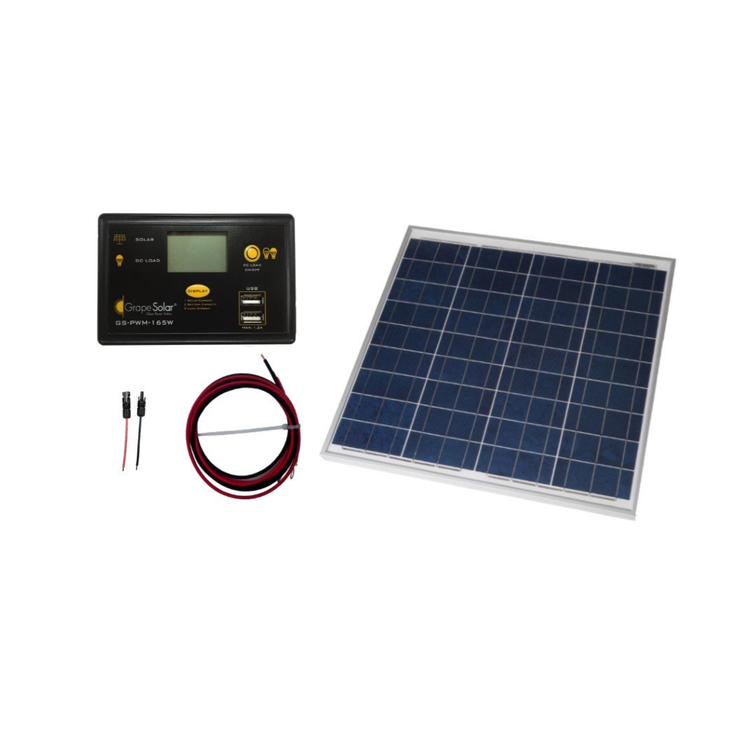Amazon.com : Grape Solar GS-50-KIT Off-Grid Solar Panel Kit, 50W ...