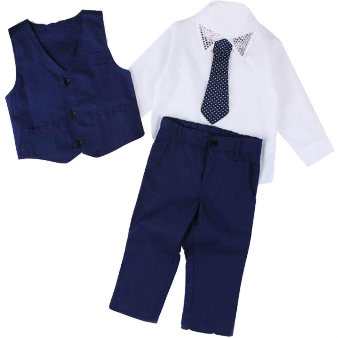 Colygamala Boys Blazer Suit Children Vest+Tie+Blouse+Pants 4 Pieces Blazer Sets for Wedding Autumn Outwear