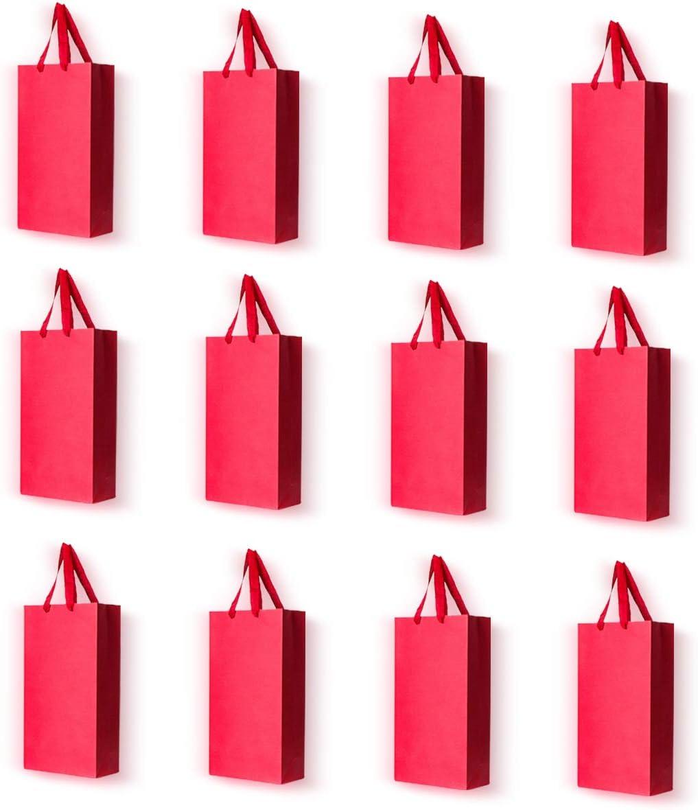 JUMINE Paquete de 12 bolsas de transporte para botellas de vino papel blanco y vino tinto bolsas de transporte con asas rojo 2 botellas