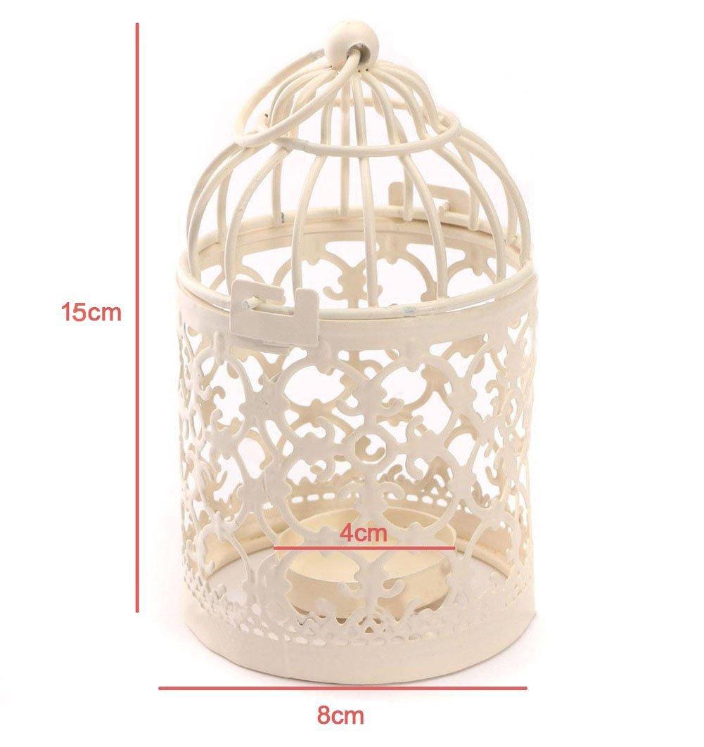 1 Pcs M/étal Dylandy Bougeoir pour Bougie Birdcage-Shape Lanterne Photophore pour Bougie en M/étal Vintage Creux Motif Fer Bougeoir pour Mariage Maison D/écoration de Table 8 * 8 * 14CM