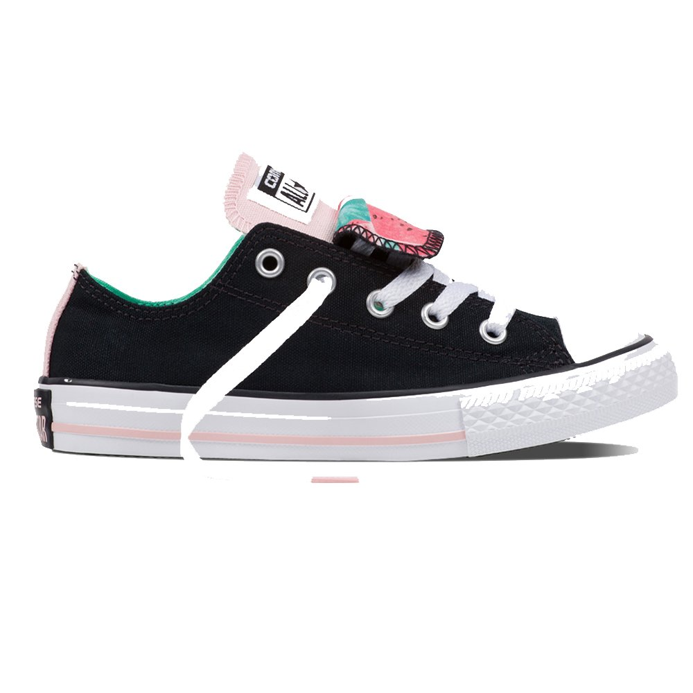 Converse Chuck Taylor All Star Double Tongue Ox Kids Trainers in Black White