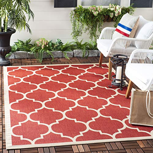 (Safavieh Courtyard Collection CY6914-248 Red and Bone Indoor/ Outdoor Square Area Rug (5'3