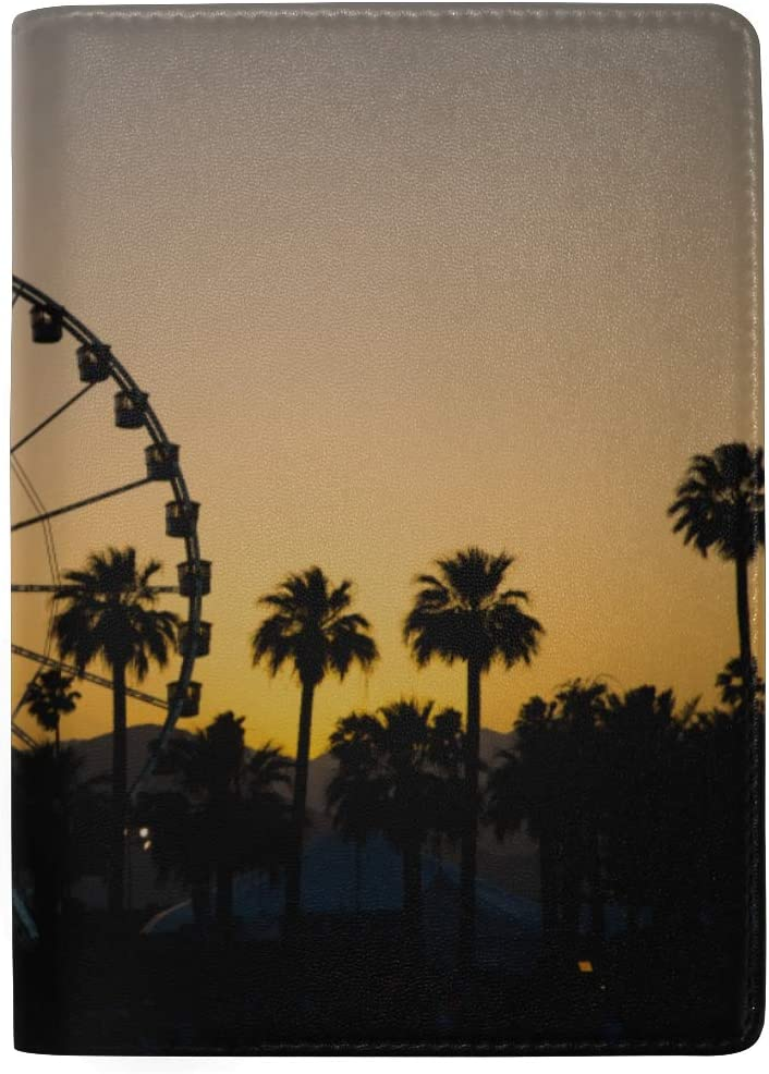 Sunset On Ferris Wheel In Orange Sky Blocking Print Passport Holder Cover Case Travel Luggage Passport Wallet Card Holder Made With Leather For Men Women Kids Family