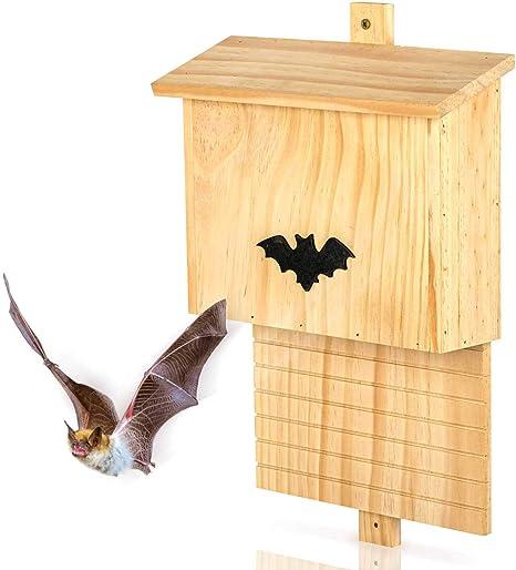 Image of Skojig Hotel para murciélagos Hecho de Madera | Albergue Refugio Caja Nido Cueva 42 x 29 x 10 cm | Casa para murciélagos - Protección de Especies en tu jardín
