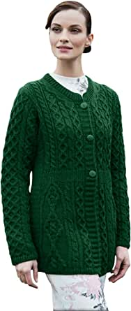 Carraig Donn Ladies 100% Merino Wool A Line Cardigan Kiwi Green