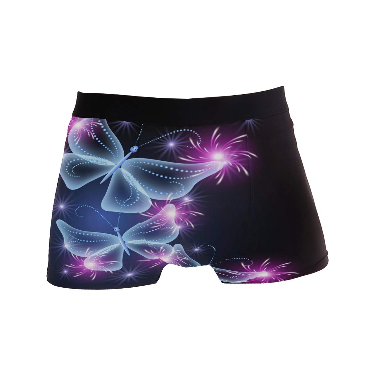 SUABO Men Boxer Briefs Polyester Underwear Men 2 Pack Boxer Briefs for Valentines Gift with Butterflies Pattern