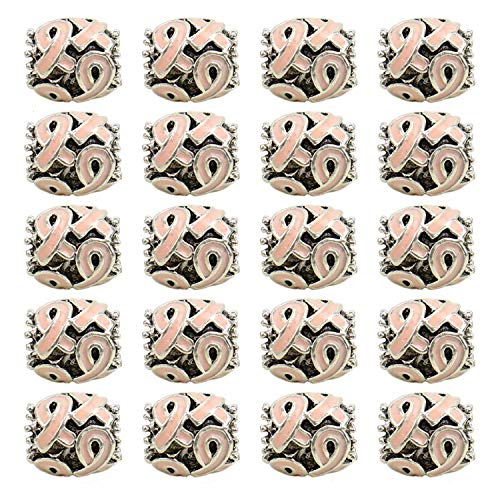 JETEHO 20Pcs Breast Cancer Awareness Pink Ribbon Charms Beads Dangle Pendant Accessories for Jewelry Making