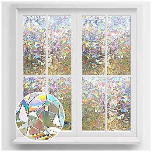 Rabbitgoo 3D No Glue Static Decorative Privacy Window Films for Glass Non-Adhesive Heat Control Anti UV 17.5 x 78.7 inches (44.5 x 200cm) (Window Stained Decals Glass)