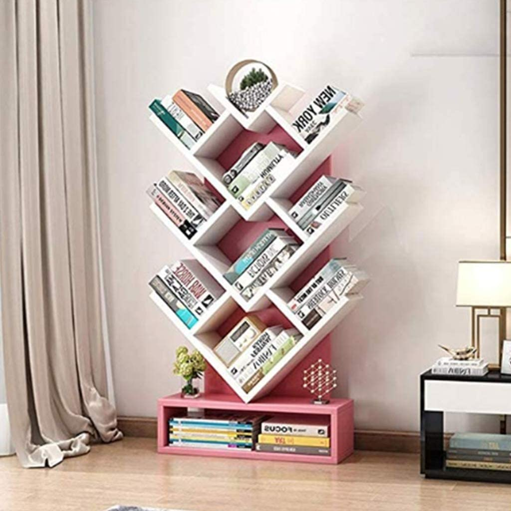 Dgliyj Tree Shaped Bookshelf Simple Storage Shelf Living Room Bedroom Bookshelf Landing Color Pink Amazon Co Uk Kitchen Home