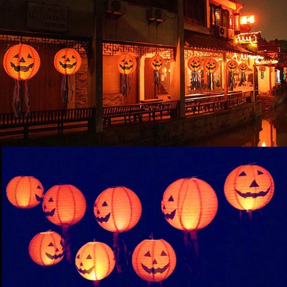 Hanging Pumpkin Light Home Decor, Elevin(TM) New Halloween Paper Pumpkin Hanging Lantern DIY Holiday Party Decor Scary (6pcs Set)
