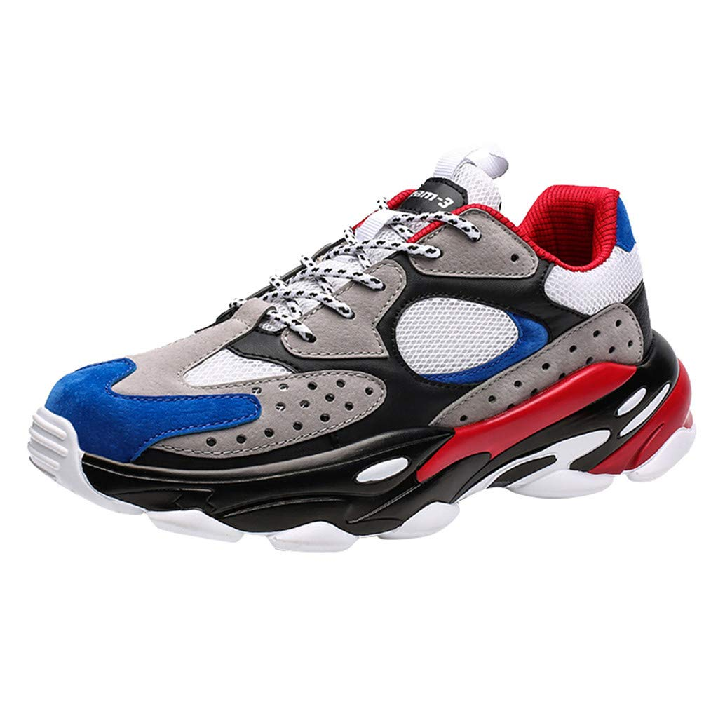 Fashion Sneakers for Teen Boys Lace-up Running Shoes Mens Sport Shoes Flats Gray