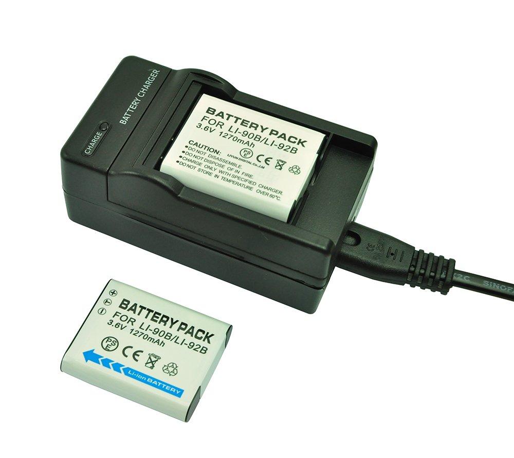mondpalast@ 2X Reemplazo batería LI90B LI-90B / LI-92B LI92B 1270mAh + cargador para Olympus TG-3 TG3 TG-4 TG4 TG-1 TG1 TG-1 iHS TG-1iHS SP-100 SH-1 SH-2 SH2