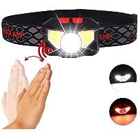 USB Headlamp,COB Headlamp 800 Lumens Ultra Bright USB Rechargeable Headlight,Motion Sensor with Indicator Light White Red Light XPG+COB 6 Modes Head lamp