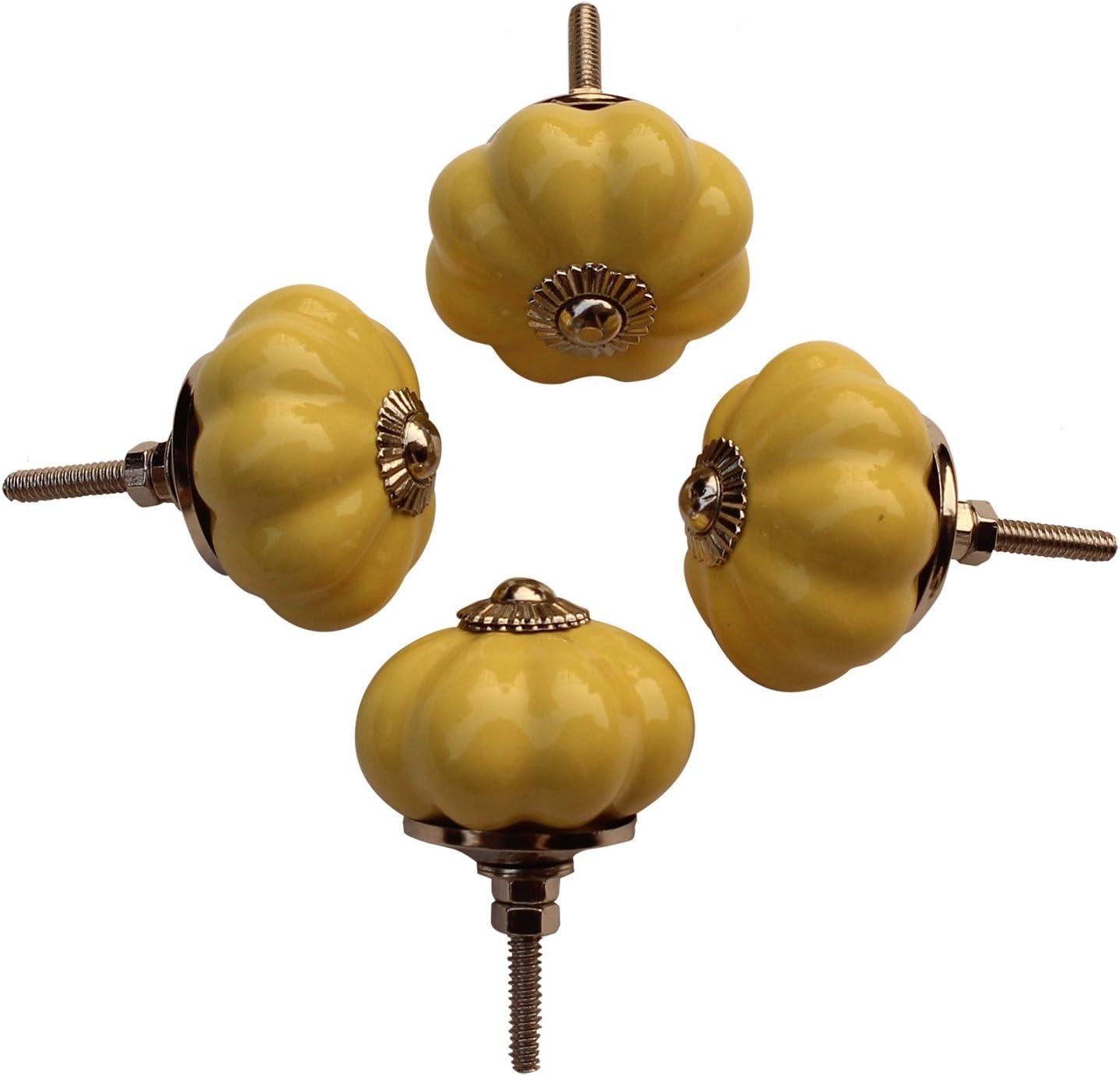 Thanksgiving Day Gift - abhandicrafts - Set of 4 Ceramic Yellow Pumpkin Decorative Antique Door Knobs- Pulls for Cabinet/Girls Dresser/Kids Cupboard/Kitchen Drawer Handles with Hardware Attached
