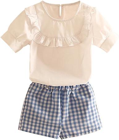 Mud Kingdom Girls Lace Top and Plaid Shorts Sets