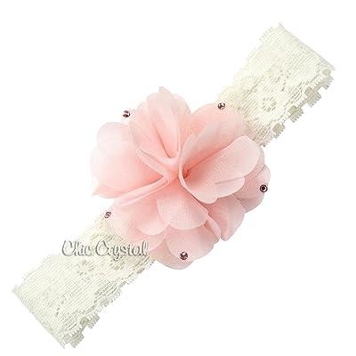 Ivory Lace Headband with Chiffon Flower (12 and up, ivory/pink)