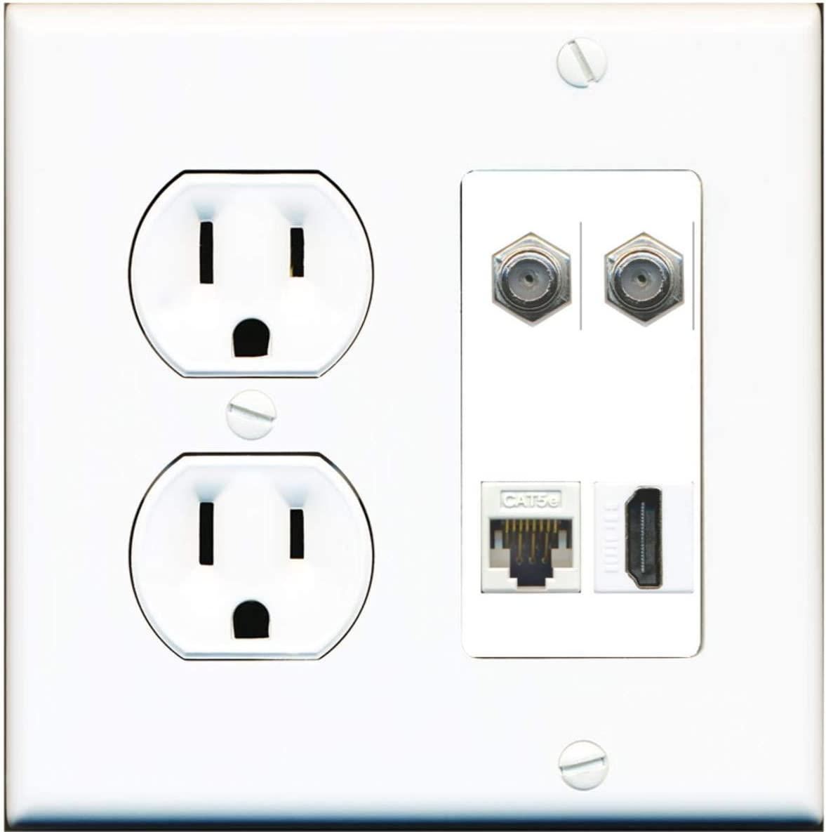 15 Amp Power Outlet 2 Port Cat5e Ethernet 1 HDMI Jack F//F Wall Plate White