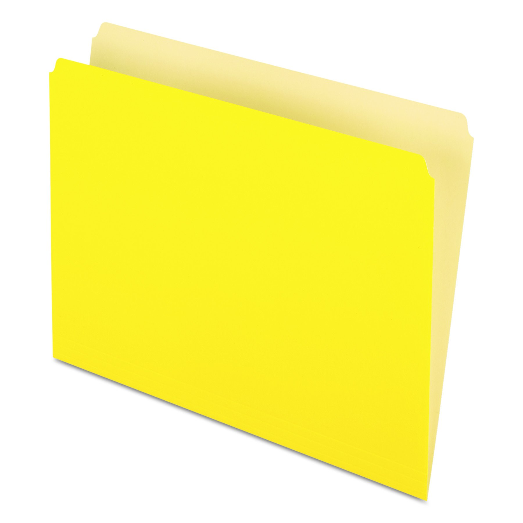 Pendaflex Two-Tone Color File Folders, Letter Size, Yellow, Straight Cut, 100/BX (152 YEL) by Pendaflex