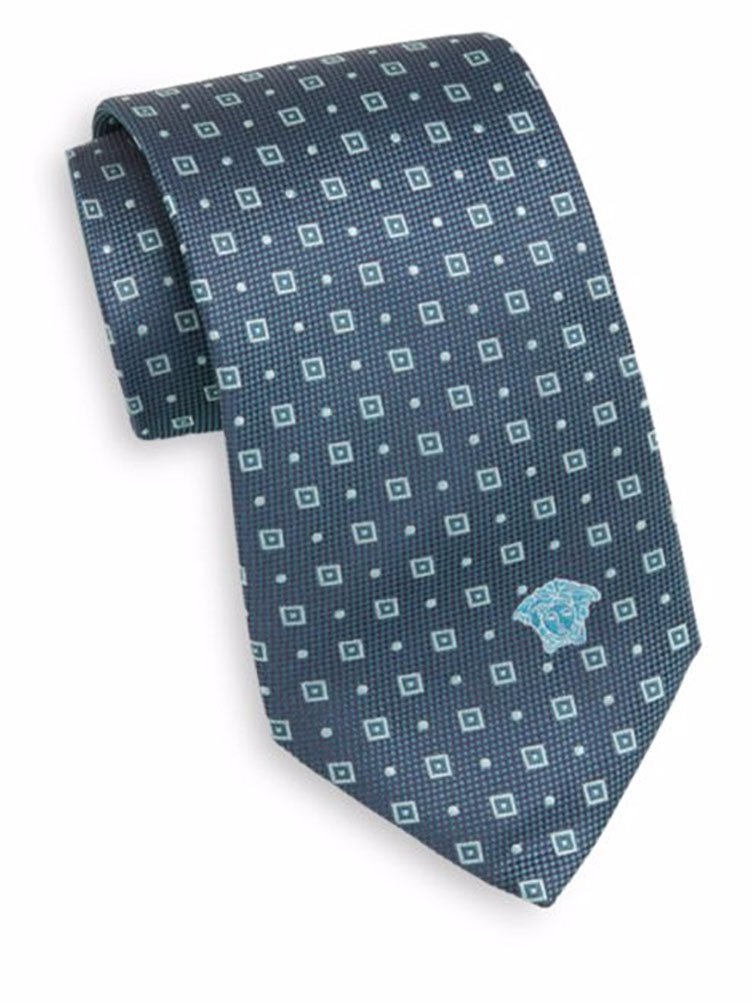 Versace Men's Square Dot Design with Medusa Head 100% Silk Tie, OS (Green)