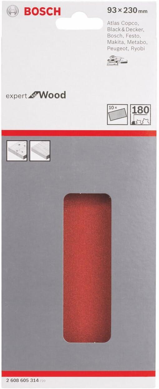 10 piezas 93 x 230 mm Juego de hojas lijadoras 40 Bosch 2 608 605 314 pack de 10