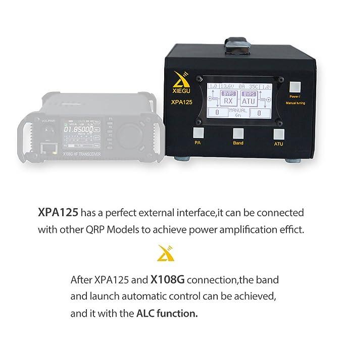 Xiegu XPA125 HF Radio Amplificador de Poder 125W 0.5~50MHz QRP ALC LC Automatic Sintonizador de Antena Función 1.8-30M (Negro): Amazon.es: Electrónica