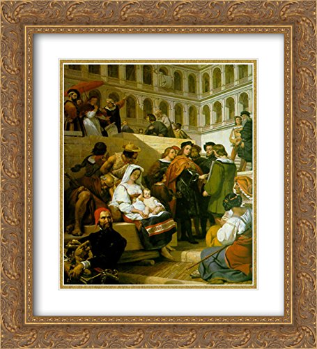 Horace Vernet 2X Matted 20x24 Gold Ornate Framed Art Print 'Raphael and Pope Leo X'