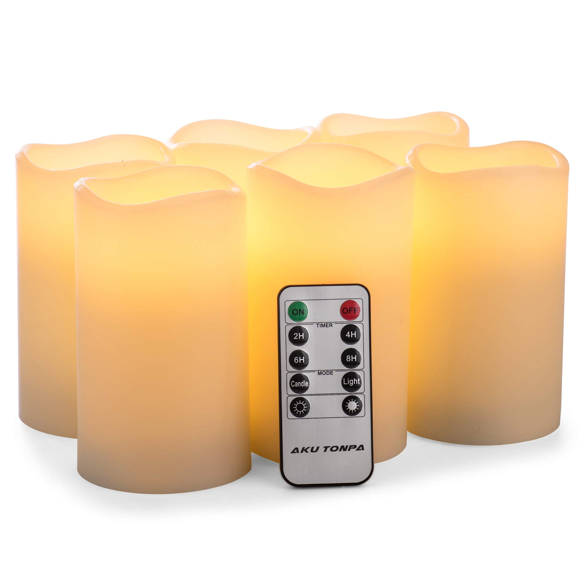 Flameless Candles Battery Operated Pillar Real Wax Flickering Electric LED Candle Gift Sets with Remote Control Cycling 24 Hours Timer by Aku Tonpa, 3''x5'' Pack of 6