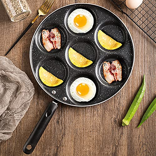 Breakfast Omelette Pan, 7-Hole Egg Frying Pan Hamburger Pancake Cookware, Non-Stick Easy to Clean, Lazy Pan Provides Seven-in-one Breakfast