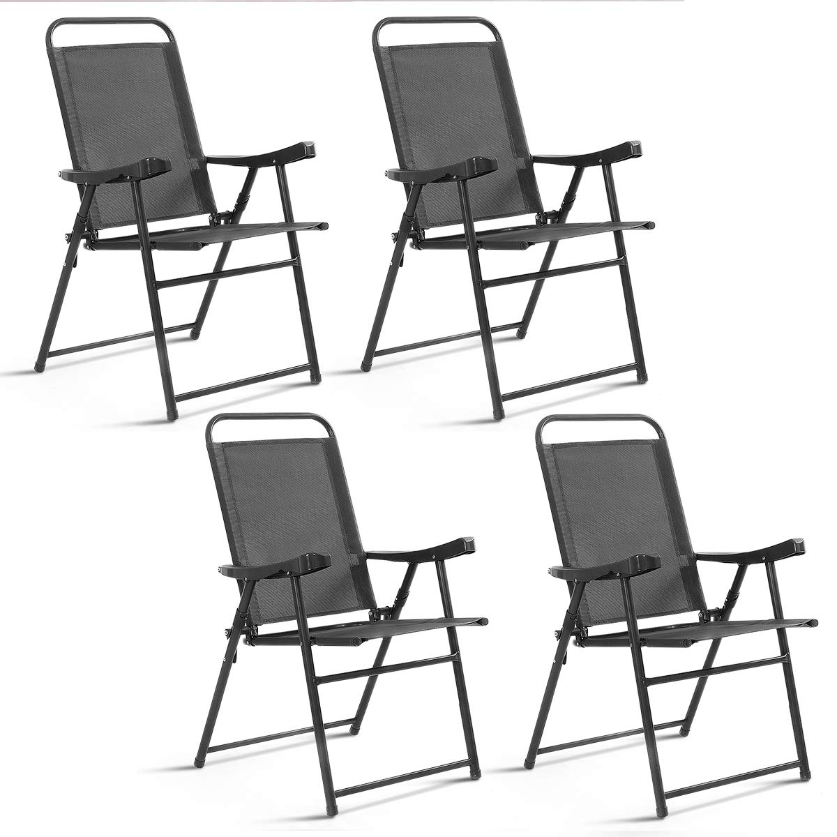Giantex 4 Packs Folding Chairs Patio Sling Chairs Outdoor Portable Chairs Furniture Camping Pool Beach Deck Dining Chairs with Armrest by Giantex
