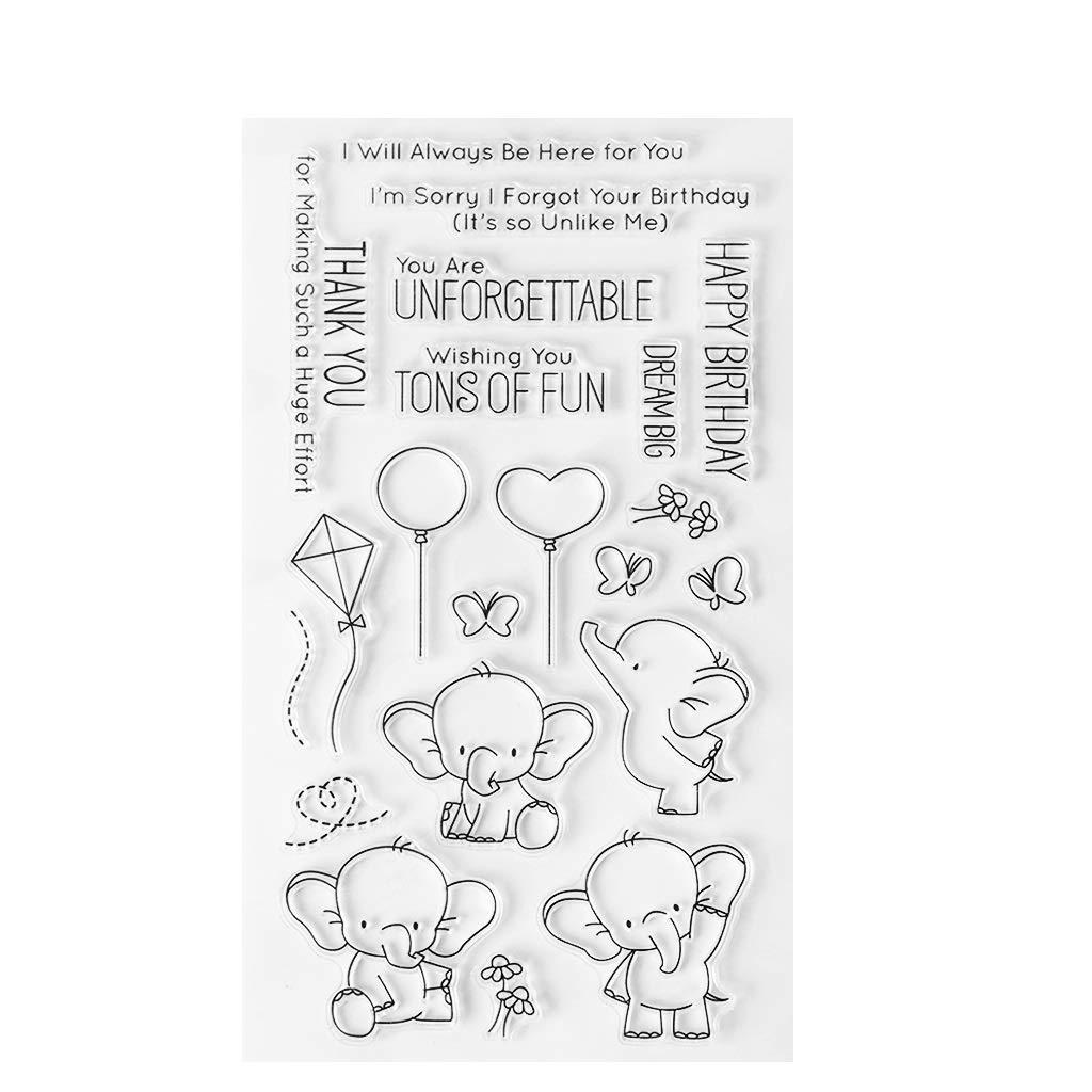 guanjunLI Elefante Mignon timbri Trasparenti/ /Scrapbooking//Scheda DIY Making//Bambini di//La journalisation