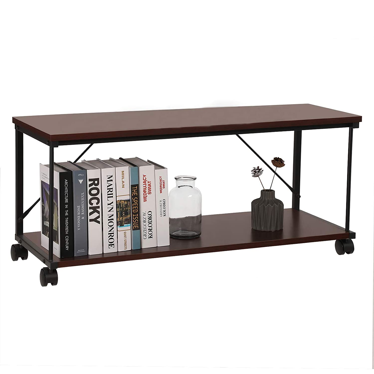 Amazon Com Tv Stand Metal Tv Cabinet With Storage And Wheels For