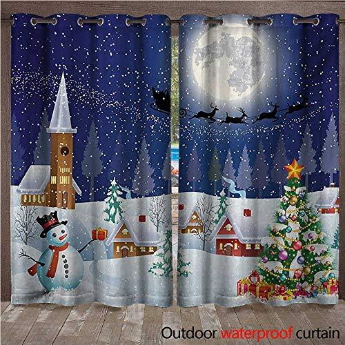 s Blackout Curtain Winter Season Snowman Xmas Tree Santa Sleigh Moon Present Boxes Snow and StarsW120 x L96 Blue White ()