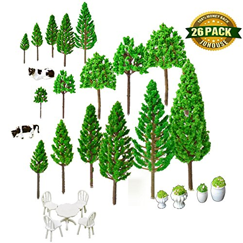 Trees Base, 19 Different Model Trees & 4 Different Flower Bed with 2 Different Cows and 1 Mini Tables and Chairs Model Architecture Train Railroad Miniature Landscape Scenery ()