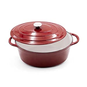 AIDEA Enameled Cast Iron Dutch Oven - 7-Quart Burgundy Red Oval Ceramic Coated Cookware French Oven with Self Basting Lid